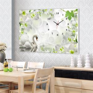 壁掛け時計 壁絵画時計 アート時計 静音 オシャレ 1枚パネル 白鳥