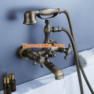 浴槽水栓 壁付水栓 シャワー水栓 ハンドシャワー付き ブロンズメッキ加工