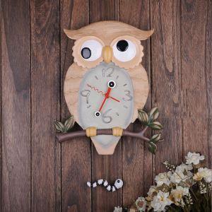 壁掛け時計 アニマル時計 振り子時計 可愛い時計 子供屋用 フクロウ型