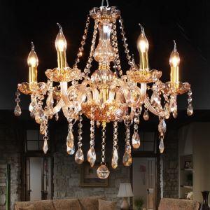 シャンデリア クリスタル照明 天井照明 照明器具 琥珀色 6灯