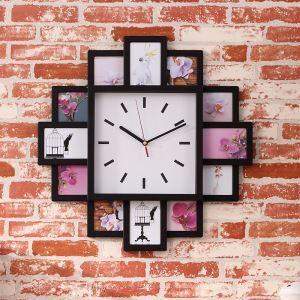 【壁掛け時計】フォトフレーム付写真12枚収納と時計が一体♪ 壁時計 静音時計