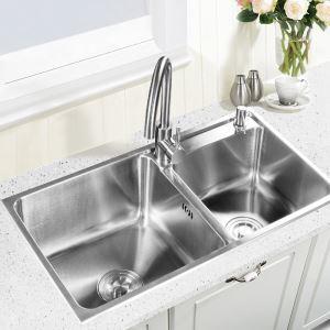 キッチン用流し台(蛇口なし) キッチンシンク 台所の流し台 2槽 #304ステンレス製流し台 AOM7742L