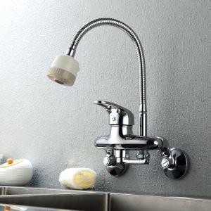 壁付蛇口 キッチン水栓 台所蛇口 冷熱混合栓 シャワー吐水式 水道蛇口 クロム