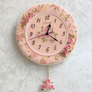 壁掛け時計 振子時計 静音時計 ピンク花 姫系