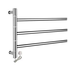 壁掛けタオルウォーマー 室内ヒーター タオルハンガー+簡易乾燥 ステンレス鋼 180°回転可能 30W