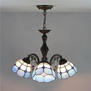 ステンドグラスランプ シャンデリア ティファニーライト 白色&青色 3灯