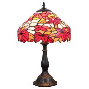 テーブルランプ ティファニーライト ステンドグラスランプ 卓上照明 寝室スタンド もみじ紅葉 12in TL129