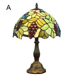テーブルランプ ティファニーライト ステンドグラスランプ 卓上照明 寝室スタンド ブドウ 12in TL158
