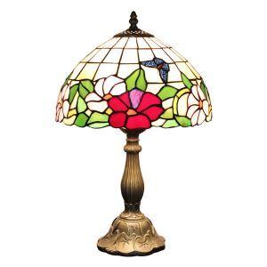 テーブルランプ ティファニーライト ステンドグラスランプ 卓上照明 蝶&花 D30cm LTTL188