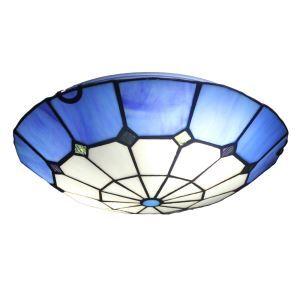 シーリングライト ティファニーライト ステンドグラス照明 玄関照明 青色 2灯 D30cm LTFM010