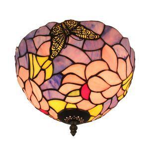 シーリングライト ティファニーライト ステンドグラス照明 玄関照明 蝶 D30cm LTFM075