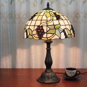 テーブルランプ ティファニーライト ステンドグラスランプ 卓上照明 寝室スタンド ブドウ柄 1灯 12in TL128