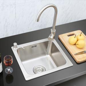 キッチンシンク(蛇口なし) 台所の流し台 #304ステンレス製流し台 S4237 16in