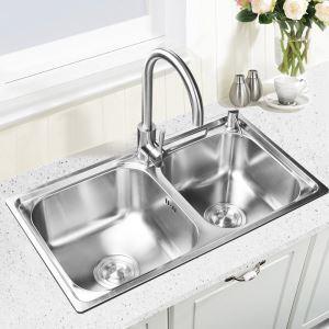 キッチンシンク(蛇口なし) 台所の流し台 2槽シンク #304ステンレス製流し台 AOM6939