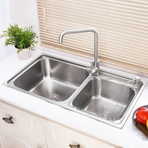 キッチンシンク(蛇口なし) 台所の流し台 2槽シンク #304ステンレス製流し台 AOM7239