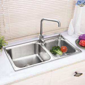 キッチンシンク(蛇口なし) 台所の流し台 2槽シンク #304ステンレス製流し台 AOM7642