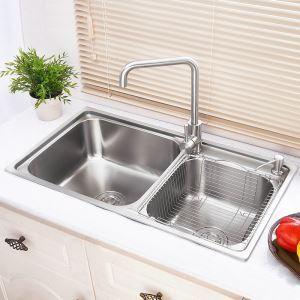 キッチンシンク(蛇口なし) 台所の流し台 2槽シンク #304ステンレス製流し台 AOM7540