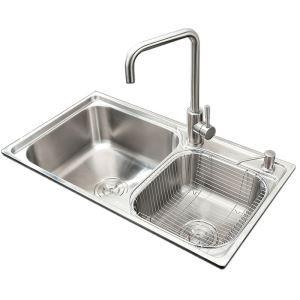 キッチンシンク(蛇口なし) 台所の流し台 2槽シンク #304ステンレス製流し台 AOM7843R
