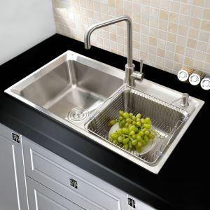 キッチンシンク(蛇口なし) 台所の流し台 2槽シンク #304ステンレス製流し台 AOM7742M