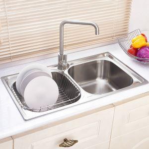 キッチン用流し台(蛇口なし) キッチンシンク 台所の流し台 2槽 #304ステンレス製流し台 AOM8045