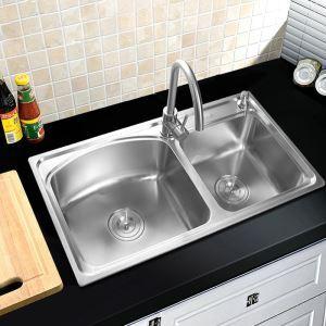 キッチン用流し台(蛇口なし) キッチンシンク 台所の流し台 2槽 #304ステンレス製流し台 AOM8245R