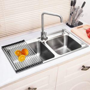 キッチン用流し台(蛇口なし) キッチンシンク 台所の流し台 2槽 #304ステンレス製流し台 AOM8143M