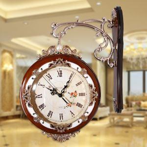 壁掛け時計 静音時計 両面時計 木製 アンティーク調