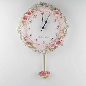 壁掛け時計 振り子時計 静音時計 ピンク花 姫系