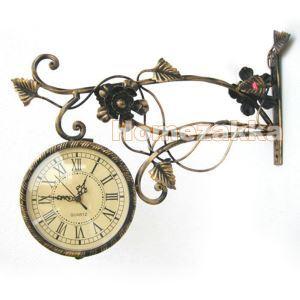 壁掛け時計 両面時計 インテリア時計 メタル製 アンティーク調