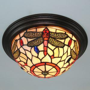 ステンドグラス シーリングライト ティファニーライト 天井照明 トンポ柄 2灯 FM004