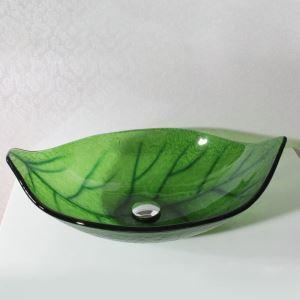洗面ボウル 手洗い鉢 洗面台 洗面器 手洗器 洗面ボール 排水金具付 芸術的 葉型 緑色