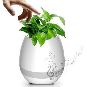 魔法植木鉢 音楽盆栽 音楽植物花瓶 夜間用ライト スマートタッチ ワイヤレス LED七色変換 音楽放送 USB充電(植物なし)