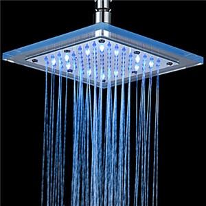 3色LEDシャワーヘッド 温度センサー付き シャワー水栓 クロム 20cm