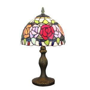 テーブルランプ ステンドグラスランプ ティファニーライト 卓上照明 寝室スタンド 花柄 1灯 8in TL314