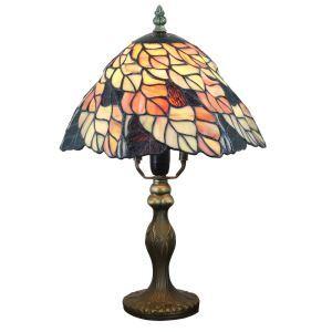 テーブルランプ ステンドグラスランプ ティファニーライト 卓上照明 寝室スタンド 葉柄 1灯 8in TL351