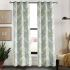 遮光カーテン オーダーカーテン 緑色葉柄 田舎風 3級遮光カーテン(1枚)