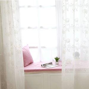 シアーカーテン オーダーカーテン UVカット 白色 花柄 レースカーテン 田舎風(1枚)