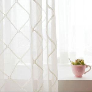 シアーカーテン オーダーカーテン UVカット 白色 菱形柄 レースカーテン 田舎風(1枚)