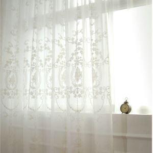 シアーカーテン オーダーカーテン UVカット 白色 レトロな刺繍柄 レースカーテン 田舎風(1枚)