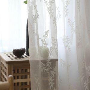 シアーカーテン オーダーカーテン UVカット 白色 刺繍柄 レースカーテン 田舎風(1枚)