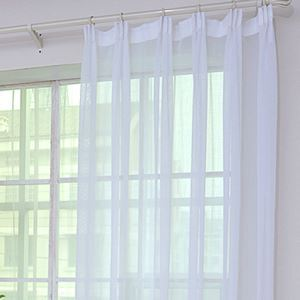 シアーカーテン オーダーカーテン UVカット 白色 無地柄 レースカーテン 田舎風 カラムシ繊維(1枚)