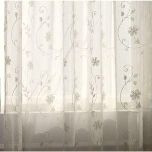 シアーカーテン オーダーカーテン UVカット 白色 花柄 刺繍 レースカーテン 田舎風(1枚)