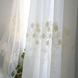 シアーカーテン オーダーカーテン UVカット 白色 毛糸刺繍 レースカーテン 田舎風(1枚)