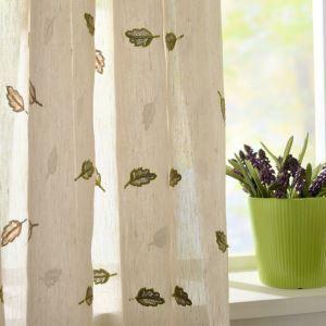 シアーカーテン オーダーカーテン UVカット 白色 葉柄 刺繍 レースカーテン 田舎風(1枚)