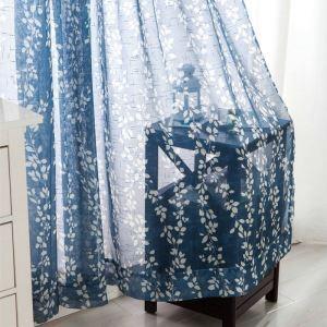 シアーカーテン オーダーカーテン UVカット 捺染 青色 葉柄 レースカーテン 田舎風(1枚)
