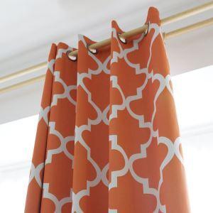 遮光カーテン オーダーカーテン 幾何柄 現代風 3級遮光カーテン オレンジ01(1枚)