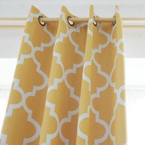 遮光カーテン オーダーカーテン 幾何柄 現代風 3級遮光カーテン イエロー02(1枚)