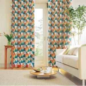 遮光カーテン オーダーカーテン 捺染 三角柄 現代風 1級遮光カーテン 暖色系01(1枚)