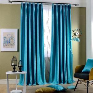 遮光カーテン オーダーカーテン 先染め 現代風 カシミヤ織物 3級遮光カーテン 紺碧色01(1枚)
