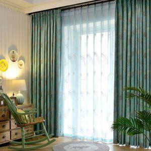 遮光カーテン オーダーカーテン ジャカード 葉柄 田舎風 2色 1級遮光カーテン(1枚)